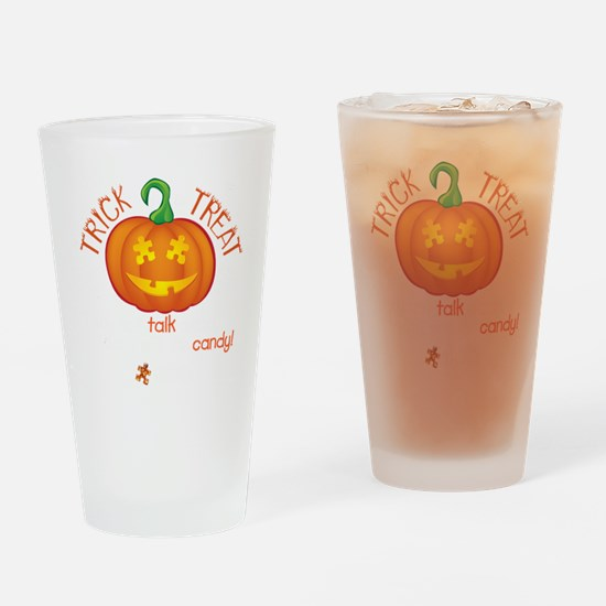 halloween1-talk-onblk Drinking Glass
