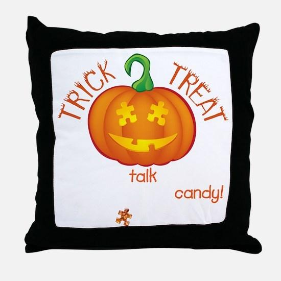 halloween1-talk-onblk Throw Pillow