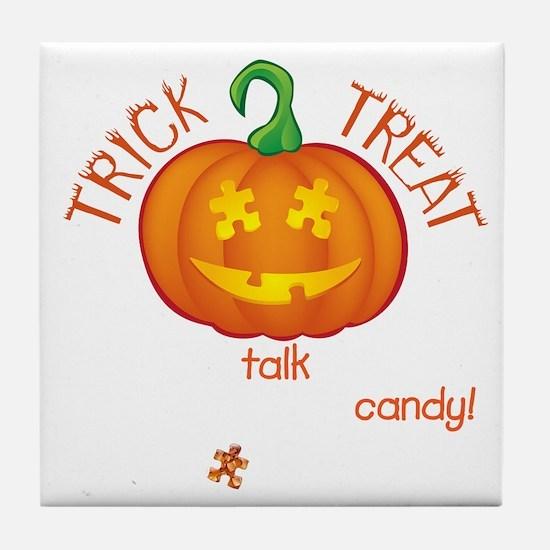 halloween1-talk-onblk Tile Coaster