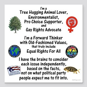 """independent_thinker_2d_t Square Car Magnet 3"""" x 3"""""""