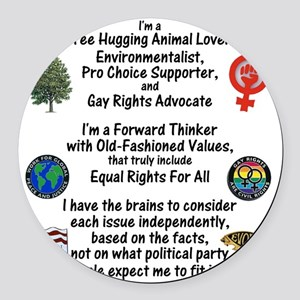 independent_thinker_2d_trans Round Car Magnet