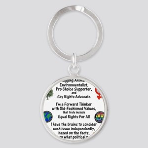 independent_thinker_2d_trans Round Keychain
