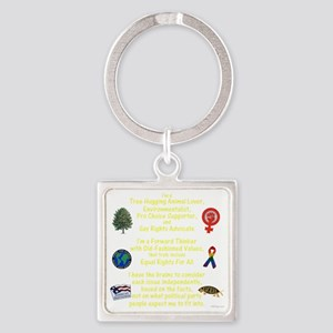 independent_thinker_2a_lttext_tran Square Keychain