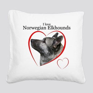 ElkhoundLove1 Square Canvas Pillow
