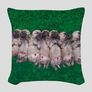 greenbed pupmergesqu Woven Throw Pillow