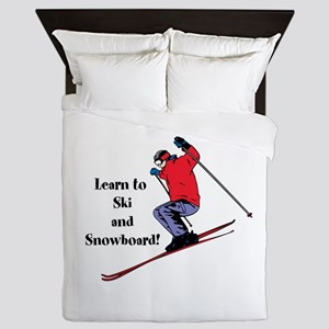 Learn to Ski and Snowboard Month Queen Duvet