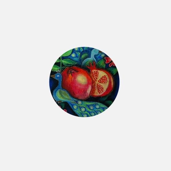 hi res peacockspomegranates Mini Button