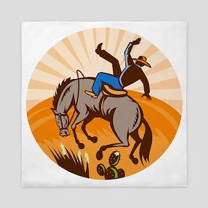 rodeo cowboy riding bucking bronco Queen Duvet