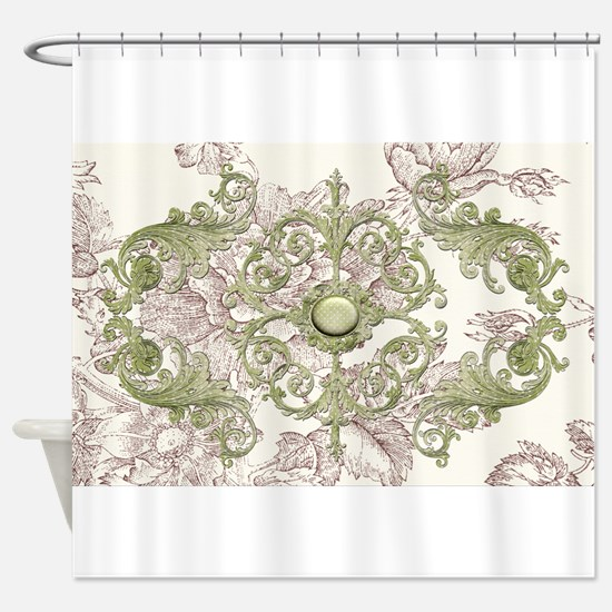 Harvest Moons Victorian Toile Shower Curtain