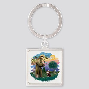 St Francis (ff) - Maine Coon cat 1 Square Keychain