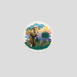 St Francis (ff) - Norwegian Forest cat Mini Button