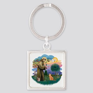 St Francis (ff) - Red Abyssinian c Square Keychain