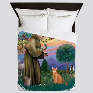 St Francis (ff) - Red Abyssinian cat Queen Duvet