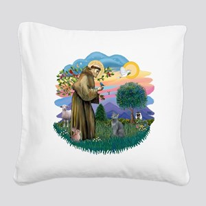 St Francis (ff) - Russian Blu Square Canvas Pillow