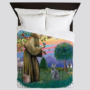St Francis (ff) - Russian Blue cat Queen Duvet
