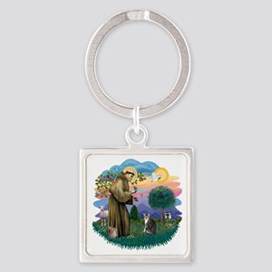 St Francis (ff) - Tabby and white  Square Keychain