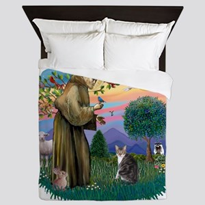 St Francis (ff) - Tabby and white cat Queen Duvet