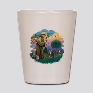 St Francis (ff) - Tabby and white cat Shot Glass