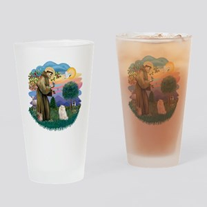 St Francis (ff) - White Persian cat Drinking Glass