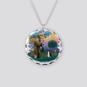 St Francis (ff) - Black and  Necklace Circle Charm