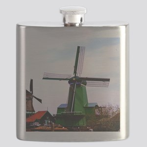 Old dutch historical power wind mill Flask