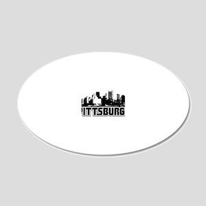 Pittsburgh Skyline 20x12 Oval Wall Decal