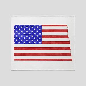 North Dakota Flag Throw Blanket