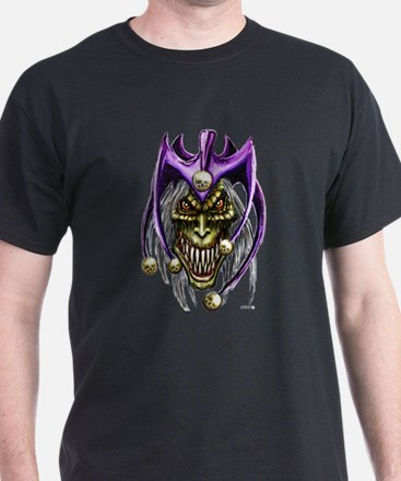 Evil Joker Jester Punk Rock Dark Colored T-Shirt