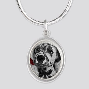 Dalmatian with snow Silver Oval Necklace