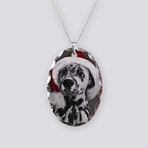 Dalmatian with snow Necklace Oval Charm