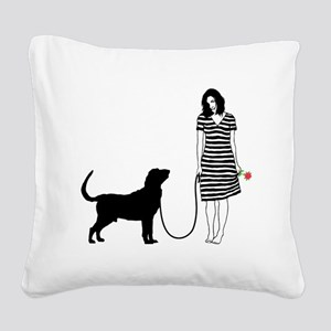 Bloodhound11 Square Canvas Pillow