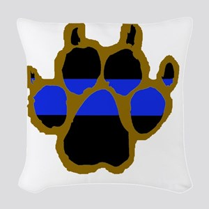 Brown Thin Blue Line Paw Enfor Woven Throw Pillow