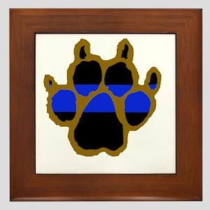 Brown Thin Blue Line Paw Enforcement Framed Tile