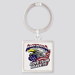 America - Love It or Leave It Square Keychain