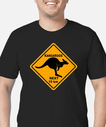 Kangaroo Sign Next Km  Men's Fitted T-Shirt (dark)