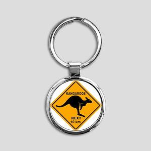 Kangaroo Sign Next Km A2 copy Round Keychain