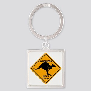 Kangaroo Sign Next Km A2 copy Square Keychain