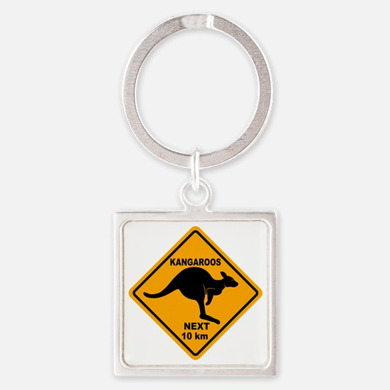 Kangaroo Sign Next Km A2 copy Square Keychain
