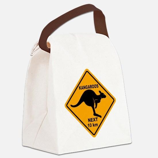 Kangaroo Sign Next Km A2 copy Canvas Lunch Bag