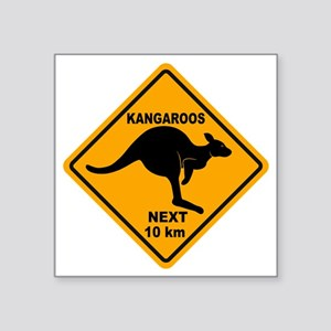 "Kangaroo Sign Next Km A2 co Square Sticker 3"" x 3"""