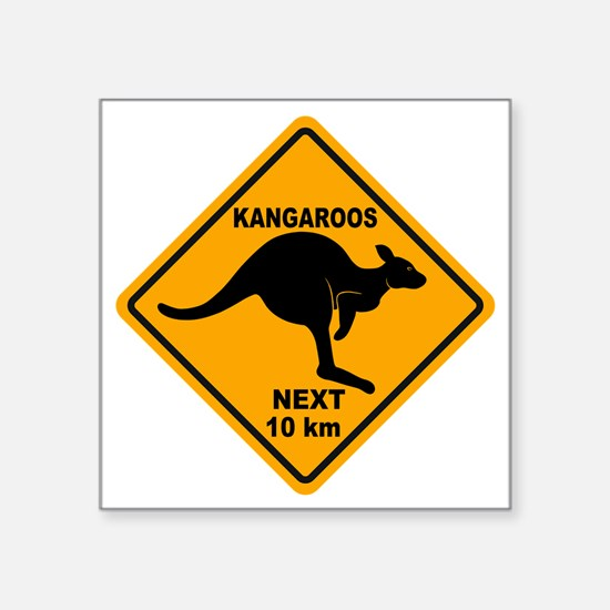 "Kangaroo Sign Next Km A2 co Square Sticker 3"" x 3"""