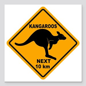 "Kangaroo Sign Next Km A2 Square Car Magnet 3"" x 3"""