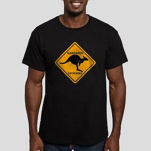 Kangaroo Sign Crossing Men's Fitted T-Shirt (dark)