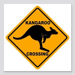 "Kangaroo Sign Crossing A Square Car Magnet 3"" x 3"""