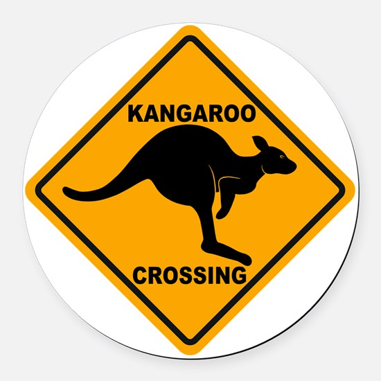 Kangaroo Sign Crossing A3 copy Round Car Magnet