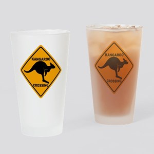 Kangaroo Sign Crossing A3 copy Drinking Glass
