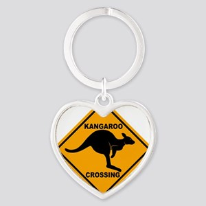 Kangaroo Sign Crossing A3 copy Heart Keychain