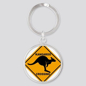 Kangaroo Sign Crossing A3 copy Round Keychain