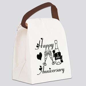 Anniversary black and white 1 cop Canvas Lunch Bag