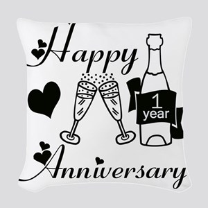 Anniversary black and white 1  Woven Throw Pillow